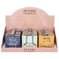 Set of 12 Classic Gent Hip Flasks in Display