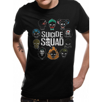Suicide Squad - Logo And Icons Men's Small T-Shirt - Black