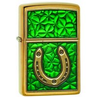 Zippo Horseshoe & Clovers Brushed Brass Finish Windproof Lighter