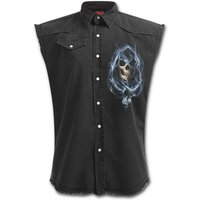Ghost Reaper Men's XX-Large Sleeveless Stone Washed Worker Shirt - Black
