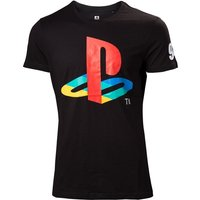 Sony PlayStation Men's Large Classic Logo and Colours T-Shirt - Black