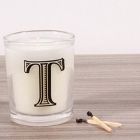 T Alphabet Candle in Votive Glass