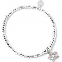 Crystal Crown Charm With Sterling Silver Ball Bead Bracelet