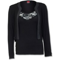 Gothic Elegance 2In1 Lace Vest Cardigan Women's X-Large Long Sleeve Top - Black