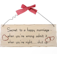 Secret To A Happy Marriage Hanging Sign