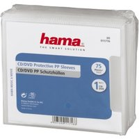 Hama CD/DVD Protective Sleeves, PP, pack of 75, transparent