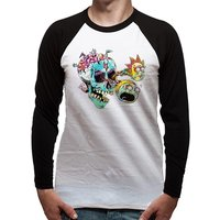 Rick And Morty - Skull Eyes Men's X-Large Baseball T-Shirt - White