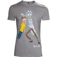 Rick & Morty Men's Crazy Eyes Distressed Small T-Shirt - Grey