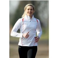 PT Ladies Running L/S 1/4 Zip Top White/Sun Orange UK Size 14 38inch