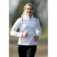 PT Ladies Running L/S 1/4 Zip Top White/Sun Orange UK Size 8 (32inch