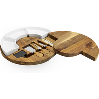 'Acacia Round Cheese Board & Knives Set   M&w
