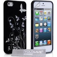 YouSave Accessories iPhone 5 / 5s Butterfly Case - Black/Silver