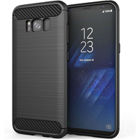 Samsung Galaxy S8 Carbon Fibre TPU Case Silicone Cover - Black