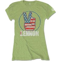 John Lennon - Peace Fingers US Flag Women's Small T-Shirt - Kiwi Green