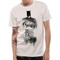 Justice League Movie - Batman Silhouette Men's Medium T-Shirt - White