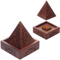 Pyramid Sheesham Wood (Pack Of 4) Incense Cone Box with Fretwork