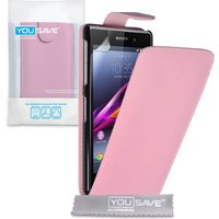 YouSave Accessories Sony Xperia Z1 Leather-Effect Flip Case - Baby Pink