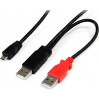 3 ft USB Y Cable for External Hard Drive - Dual USB A to Micro B
