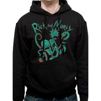 Rick And Morty - Men's Small Neon Hoodie - Black