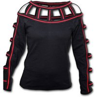 Gothic Rock Red Web Neck Women's Small Long Sleeve Top - Black