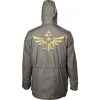 Nintendo Legend of Zelda Men's Golden Hyrule Royal Crest X-Large Parka Jacket with Hood - Military Green