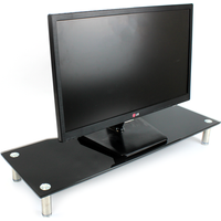 Glass Monitor & TV Screen Display Stand Riser With Adjustable Legs Green House Black Large