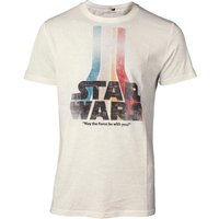 Star Wars: The Force Awakens - Retro Rainbow Logo Men's Large T-Shirt - White