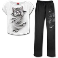 Bright Eyes Women's XX-Large 4-Piece Gothic Pyjama Set - Black/White