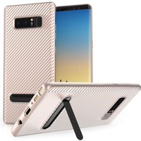 Samsung Galaxy Note 8 Carbon Fibre Textured Gel Case with Kickstand - Rose Gold