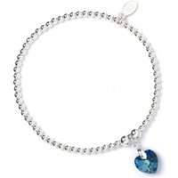 Bermuda Blue Swarovski Crystal Heart with Sterling Silver Ball Bead Bracelet