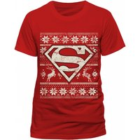 Superman - Fair Isle Logo Unisex Medium T-Shirt - Red