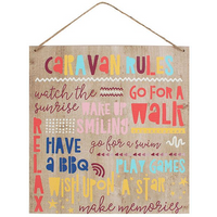 Caravan Rules Wooden Sign