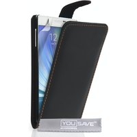 YouSave Accessories Samsung Galaxy A7 Leather-Effect Flip Case - Black