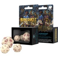 Q-Workshop RuneQuest: Beige & Burgundy Dice Set (Poly 7)