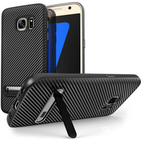 Samsung Galaxy S7 Carbon Fibre Textured Gel Case with Kickstand - Black