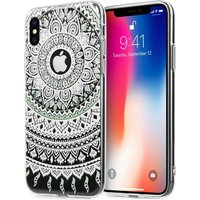 Apple iPhone X Mandala Printed Gel - Mint Green/White