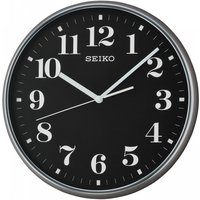 Seiko QXA697K Quiet Sweep Second Hand Wall Clock Grey Case with Black Face