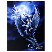 Small Silver Dragon Canvas Picture by Anne Stokes