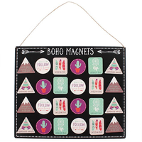 Set of 36 Boho Magnets with Display Board