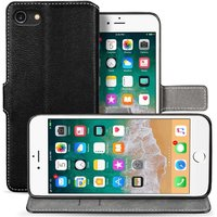 iPhone 8 Pu Leather Slim Wallet Stand Case - Black