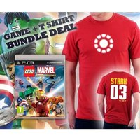 Lego Marvel Super Heroes Game + Iron Man Arc Reactor Double Sided Red T-Shirt Medium