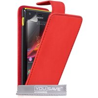 YouSave Accessories Sony Xperia M Leather-Effect Flip Case - Red