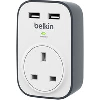 Belkin BSV103 SurgeCube 1 Way Surge Protector UK Plug with 2 x 2.4 A Shared USB Charging - White