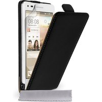 YouSave Accessories Huawei Ascend G6 Real Leather Flip Case - Black