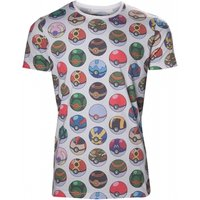 Pokemon Men's All-over Poke Ball Print X-Large T-Shirt - Grey