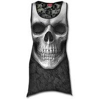 Solemn Skulll Allover Goth Bottom Lace Women's Small Sleeveless Top - Black
