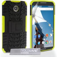 YouSave Accessories Google Nexus 6 Stand Combo Case - Green-Black
