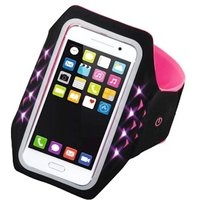 Hama Running Sports Arm Band for Smartphones, Size XXL, with LED, pink