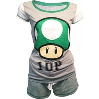 Nintendo Super Mario Bros Female Green 1-UP Mushroom Shortama Large Nightwear Set