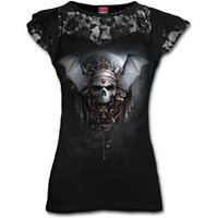 Goth Nights Lace Layered Cap Sleeve Women's XX-Large Short Sleeve Top - Black